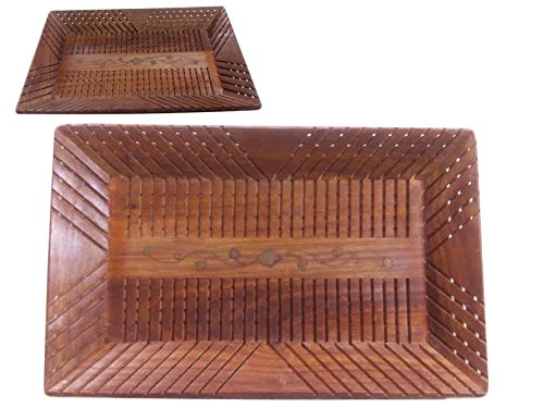 (PMK Christmas or Thanks Giving Day Gift, Handmade Wooden Tray, Wooden Serving Tray for Tea, Coffee, Foods, Snacks & Cold Drinks, Strip Design 15 X 10 in Tray, Kitchen Accessories)