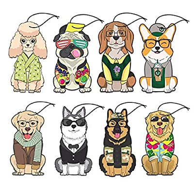 Woofy Hanging Car Air Freshener - Adorable Doggy Design - [ Pack of 8 ] - Long Lasting Scents (Assorted): Automotive