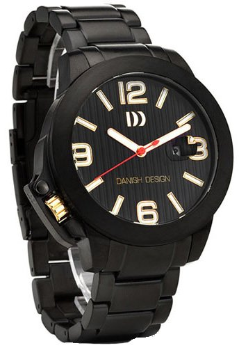 Danish Design #IQ64Q915 Men's Black IP Stainless Steel Black Dial Lefty Analog Watch