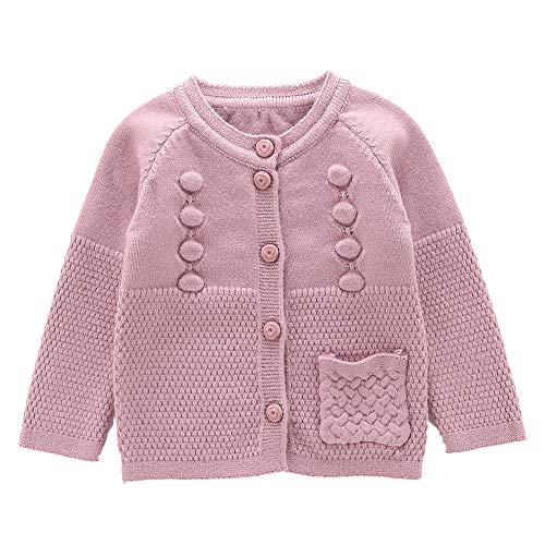 Moonnut Baby Girls Cardigan Sweaters Single Pocket Long Sleeve Soft Knitted Autumn Winter Outwear (2T, Rose Pink)