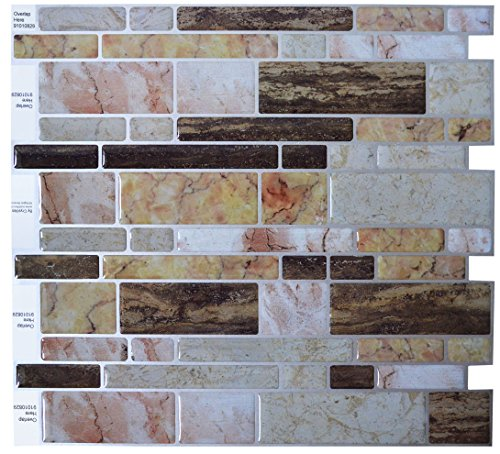 "Peel and Stick DIY backsplash Tile Stick-on Vinyl Wall Tile, Perfect backsplash idea for Kitchen and Bathroom décor Projects, Item #91010829, 10"" X 10"" Each, 6 Sheets Pack"