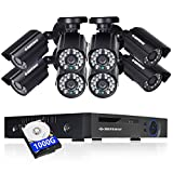 DEFEWAY 8 Channel Security Camera System with 8pcs 720P HD Outdoor Bullet CCTV Video Cameras,IP66 Weatherproof, Email Alert,Day/Night Vision, 1TB Hard Drive Included