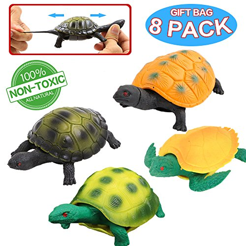 Turtle Toys,Sea Ocean Animal 5 Inch Rubber Tortoise Turtle Sets(8 Pack),Great Safety Material TPR Super Stretchy,Can Hide In Shell ValeforToy Bathtub Bath Pool Toy Party Favors Boys Kids by ValeforToy (Image #8)