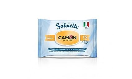 Camon - Toallitas de bolsillo para perros y gatos, aroma de vainilla, 15 unidades
