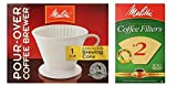 porcelain pour over coffee maker - Melitta 64101 Porcelain #2 Cone Brewer with Cone Coffee Filter #2 - Natural Brown 100 Count