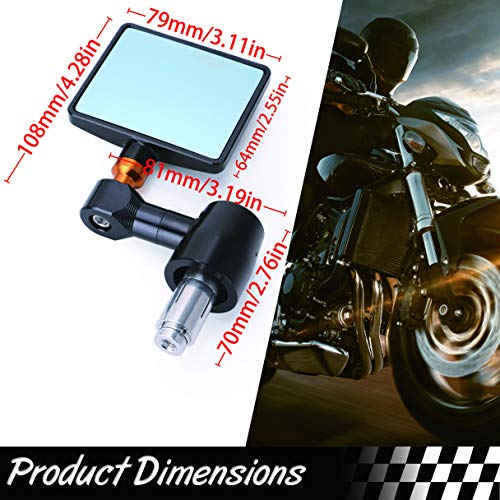 Motorcycle Mirrors Clear View Easy to Install Sturdy Shell CNC Aluminum Folding Bar End Side Mirror for Aprilia Buell Ducati Honda Suzuki Kawasaki