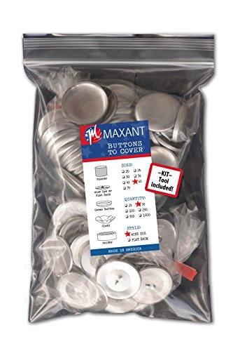 Cover Button Tool - 50 Buttons to Cover - Made in USA - Self Cover Buttons with Wire Eyes - size 60 with Tool
