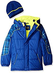 iXtreme Little Boys\' Toddler Plaid Print Gwp Puffer, Royal, 2T