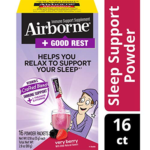 Vitamin C Blend + L-Theanine & Vitamins Good Rest - Airborne Very Berry Powder Packet (16 Count in Box), Immune Support Supplement That Helps You Relax to Support Your Sleep