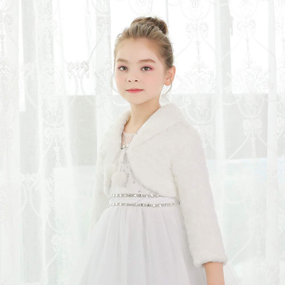 SK Studio Girls Princess Faux Fur Flower Bolero Shrug Party Wedding Dress Up by SK Studio (Image #6)