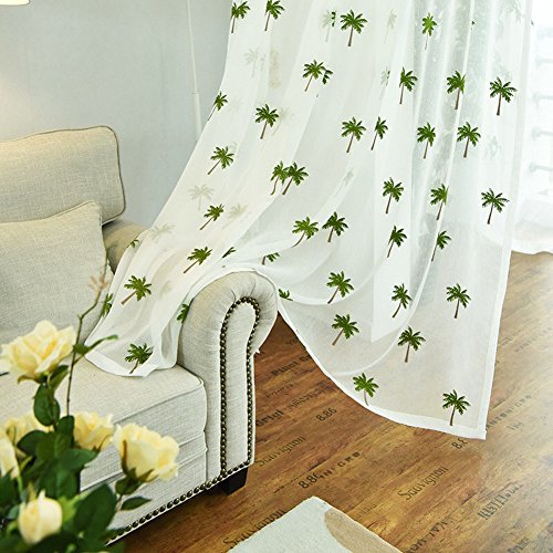 Sheer Palm Tree - YUTIANHOME Sheer Curtains Coconut Palm Trees Embroidery Rod Pocket Curtains, for Door Bedroom Living Room Window Curtains/Drape/Panels/Treatments, 2 Panels, 52 inch Width x 84 inch Length