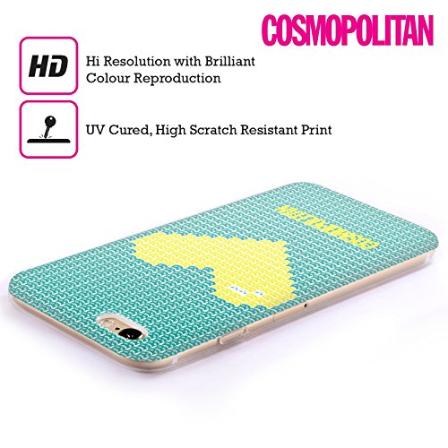 Official Cosmopolitan Yellow On Teal Pixel Heart Lovey Soft Gel Case for Apple iPhone 4 / 4S