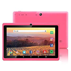 7 inch Tablet Google Android 8.1 Quad Core 1024×600 Dual Camera Wi-Fi Bluetooth 1GB/8GB Play Store 3D Game Supported GMS Certified (Pink)