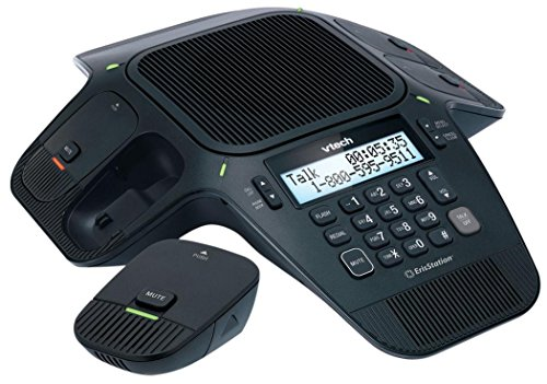 VTech VCS704 ErisStation DECT 6.0 Conference Phone with Four Wireless Mics using Orbitlink Wireless Technology