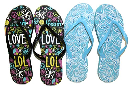 Black Peace Dream and Blue Starfish Combo flip flops (Small, Womens 5-6, 1 Pair of each)
