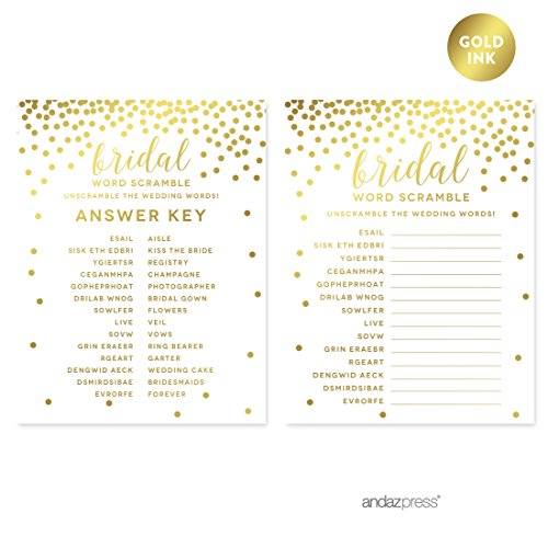 (Andaz Press Metallic Gold Confetti Polka Dots Party Collection, Bridal Shower Wedding Word Scramble Game Cards, 20-Pack)