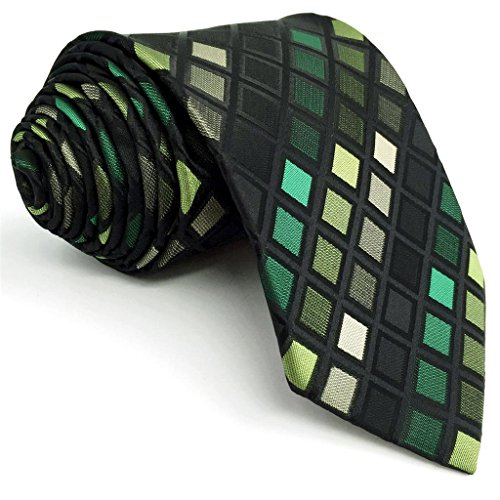 "Shlax&Wing Checkered Green Neckties Mens Ties Fashion Suit For Men XL 57.5"" 63"" Long"