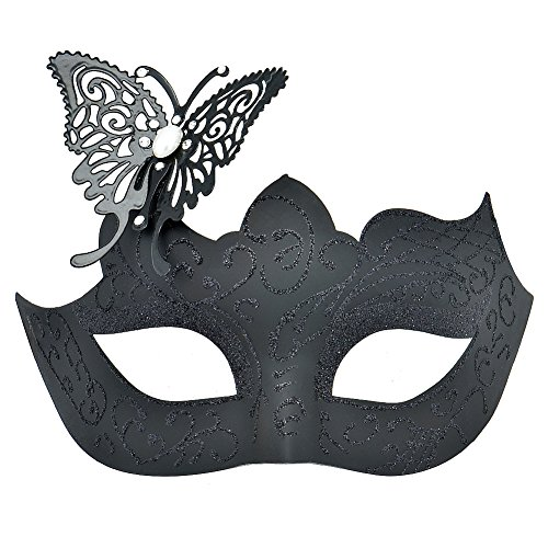 Cozypony Elegant Princess Laser Cut Metal Butterfly Party Mask, Venetian Masquerade Masks for Halloween Mardi Gras Party or Prom (One Size, (Peacock Eye Mask)