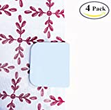 BoomYou 4 Pack Anti Splash Self-Adhesive Shower Curtain Clips Shower Liner Splash Guards Curtain Stop Clips Spill Bathroom Accessories Water Leaking - White