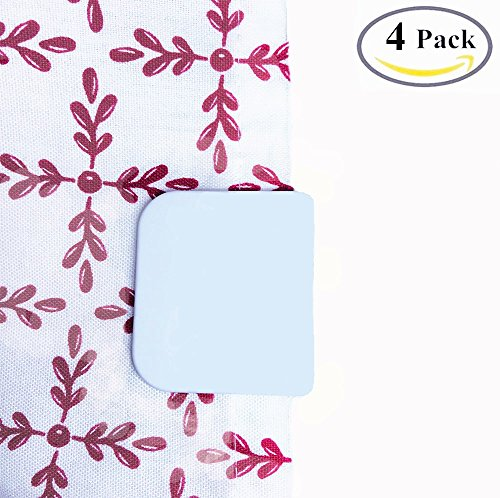 4 Pack BoomYou Anti Splash Self-Adhesive Shower Curtain Clips Shower Liner Splash Guards Curtain Stop Clips Spill Bathroom Accessories Water Leaking - White