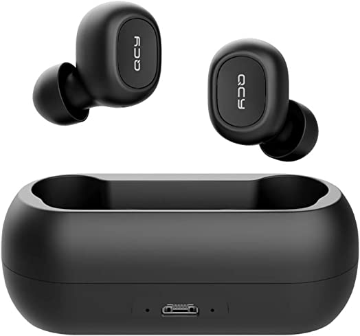 QCY T1 T1C True Wireless Earbuds with Uncapped Charging Case, TWS 5.0 Bluetooth Headphones,Compatible for iPhone, Android and Other Leading Smartphones, Black