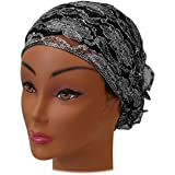 SSK Beautiful Metallic Turban-style Head Wrap (Lacey Silver)