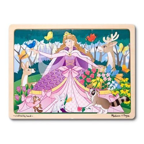 'Woodland Princess' 24-Piece Wooden Jigsaw Puzzle + FREE Melissa & Doug Scratch Art Mini-Pad Bundle [18968] (Fish Big Wooden Jigsaw)