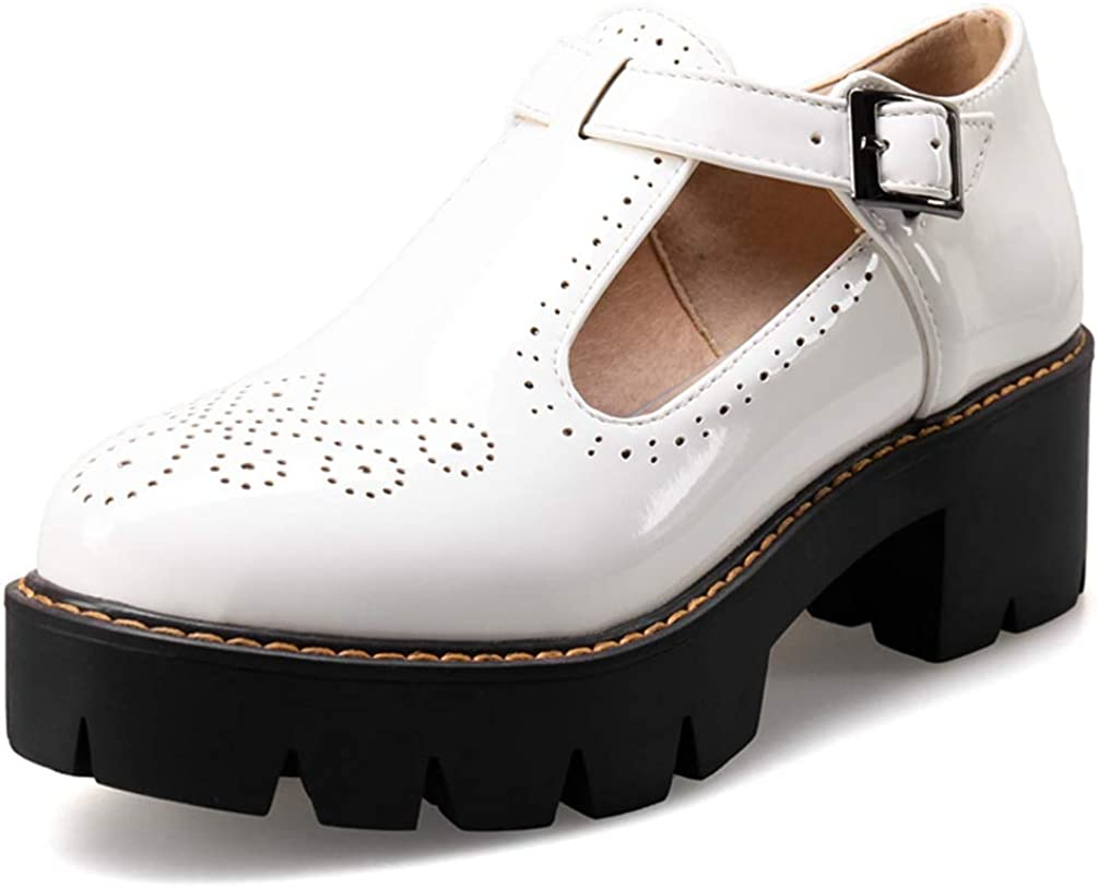 Caradise Womens T Strap Oxford Shoes Patent Leather Chunky Platform Mary Janes