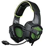 SA807 Gaming Headset for NEW Xbox One PS4 PC Laptop Mac Tablet Smartphone Stereo 3.5mm Headphones with Microphone Volume Control(Black Green)