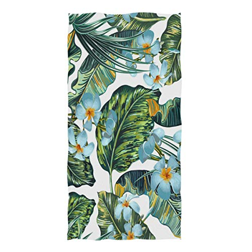 Floral Tropical Washcloth - ZZKKO Tropical Palm Leaves Floral Flower Towel Washcloth Baby Toddler Kids Boys Girls Women Man for Home Kitchen Bathroom Spa Gym Swim Hotel Use