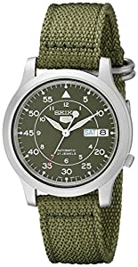 Seiko Men's SNK805 Seiko 5 Automatic Stainless Steel Watch with Green Canvas Strap