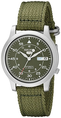 Seiko Men's SNK805 Seiko 5 Automatic Stainless Steel Watch with Green Canvas (Mens Automatic Watch)