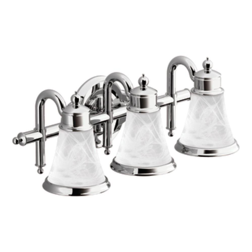 Moen YB9863CH Waterhill Three Globe Bath Light, Chrome