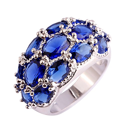 Psiroy 925 Sterling Silver Created Blue Sapphire Filled Knuckle Joint Ring Band Size 7