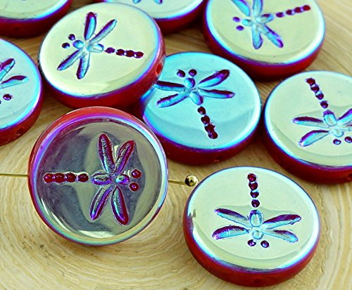 4pcs Opaque Red Full AB Rustic Dragonfly Flat Coin Round Czech Glass Beads 17mm ()