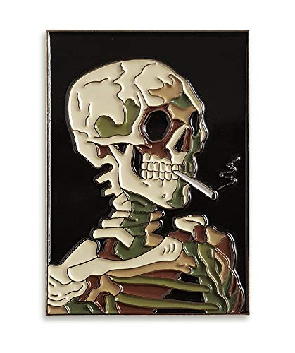Pinsanity Van Gogh 'Skull With Burning Cigarette' Painting Enamel Lapel Pin