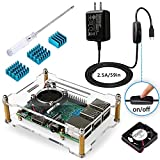 Miuzei Raspberry Pi 3 B+ Case with Fan, Heat Sinks, 2.5A Power Supply with ON OFF Switch, Open-Air Cooling Case for Raspberry Pi 3 B+, Pi 3, Pi 2, B+