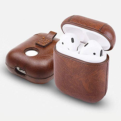 Amazon Com Airpods Case Cover Pu Leather Dark Brown Protective