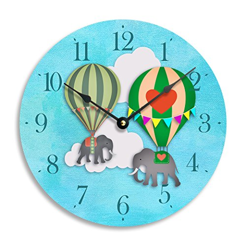Children's wall clock, elephants lifted by hot air balloons. 10 inch wall clock. Blue sky background.