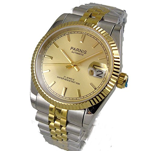 Parnis 36mm 21 Jewels Miyota Automatic Movement Men's Watch Sapphire Glass Golden ()
