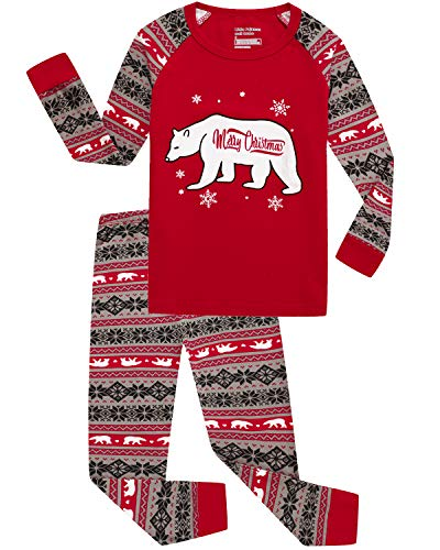 Little Pajamas Holiday Family Matching Fleece Bear Plaid Pajama PJ Sets Kids Pjs 7t ()