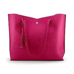 Oct17 Women Tote Bag Tassels Faux Leather Shoulder Handbags Fashion Ladies Purses Satchel Messenger Bags Hot Pink