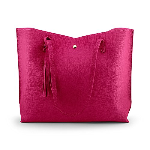 OCT17 Women Tote Bag - Tassels Faux Leather Shoulder Handbags, Fashion Ladies Purses Satchel Messenger Bags - Hot Pink ()