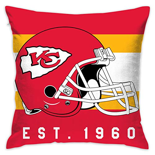 Gdcover Custom Stripe Kansas City Chiefs Pillow Covers Standard Size Throw Pillow Cases Decorative Cotton Pillowcase Protecter with Zipper - 18x18 Inches