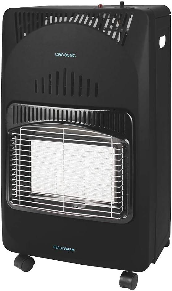 Cecotec Estufa de Gas butano Ready Warm 4000 Slim Fold. Estufa Plegable, 4200 W, Cerámica, 3 Modos, Bombonas de 10 kg, Triple sistema de seguridad, 4 Ruedas multidireccionales, Cobertura 30 m2