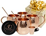 Mule Science Moscow Mule Copper Mugs - Set of 4 - 100% HANDCRAFTED - Pure Solid Copper Mugs 16 oz Gift Set with BONUS