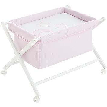 Minicuna mibebestore Plegable Cuadros Rosa: Estructura + Vestidura + Colcha Desenfuntable + Colchón: Amazon.es: Bebé