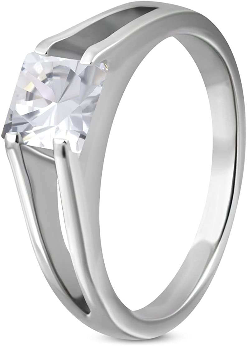 Stainless Steel Compression-Set Square Split Shank Ring with Clear CZ