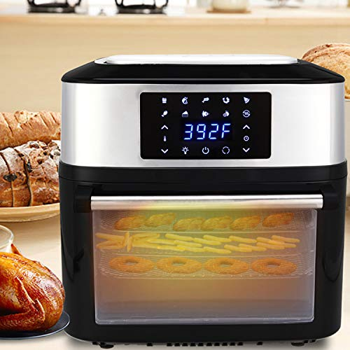 Air Fryer Oven with Rotisserie and Dehydrator, 16.91Quarts/16L 1800W Large Countertop Electric Air Fryer with LED Digital Touchscreen, 10 Cooking Preset Modes and 8 Cooking Accessories (US STOCK)