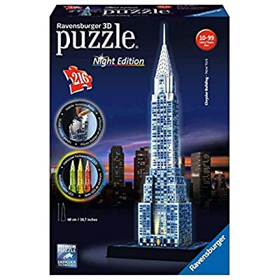 Ravensburger Chrysler Building Night Edition 216 Piece 3D Jigsaw Puzzle for Kids and Adults - Easy Click Technology Means Pieces Fit Together Perfectly: Toys & Games